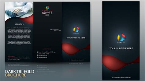 design leaflet in photoshop design dark tri fold brochure cover photoshop tutorial