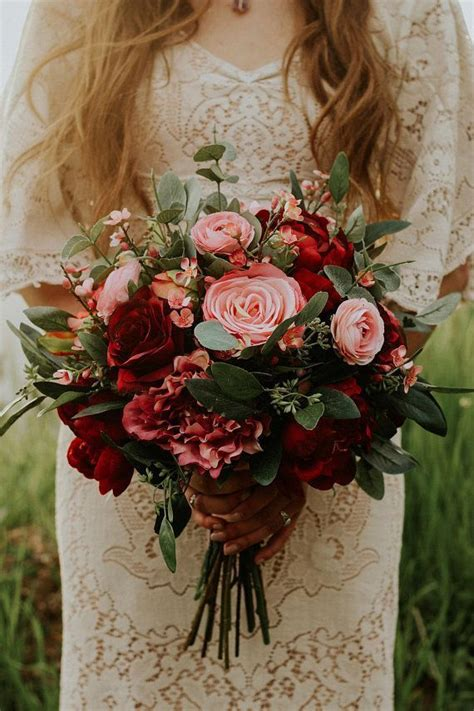 wedding bouquet wedding flowers boho bouquet bridal bouquet pink burgundy eucalyptus