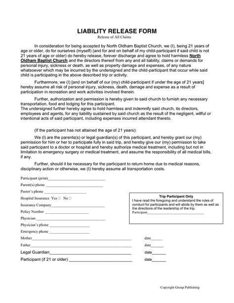 Release Letter For Damages Liability Release Form In Word And Pdf Formats