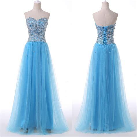 Handmade Gowns - beautiful handmade blue tulle prom dress 216 blue