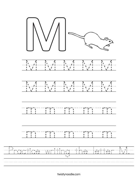 alphabet worksheets letter m practice writing the letter m worksheet twisty noodle