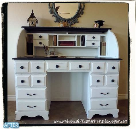 roll top desk makeover roll top desk painted cream home study pinterest