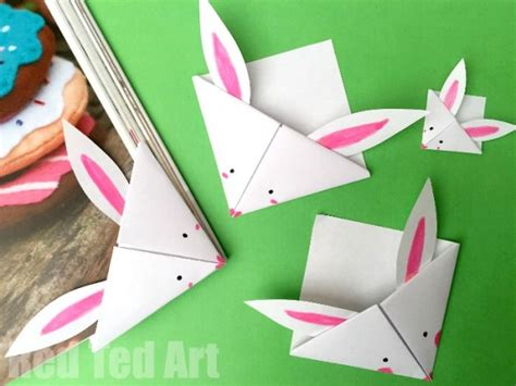 paper easy crafts easy paper bunny bookmark ted s