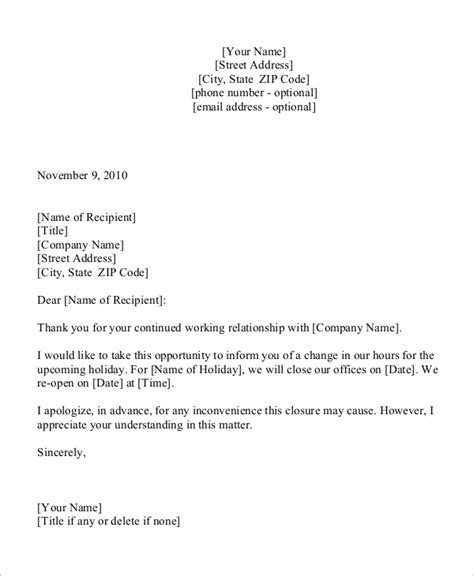 sample holiday letter templates ms word