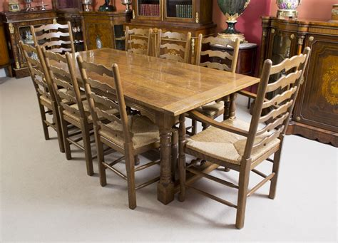 Oak Dining Table 8 Chairs Vintage Solid Oak Refectory Dining Table 8 Chairs