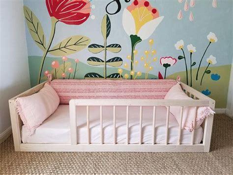 montessori floor bed  rails full  double size floor bed hardwood includes slats