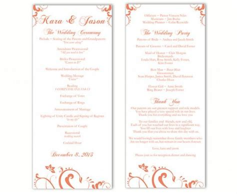 diy wedding program template wedding program template diy editable text word file