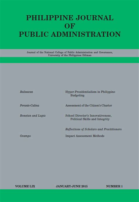 Philippine Administration Research Paper phil journal of administration vol 59 no 1