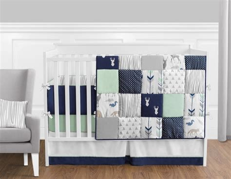 baby boy deer bedding navy blue mint and grey woodsy deer baby bedding 9pc boys crib set by sweet jojo