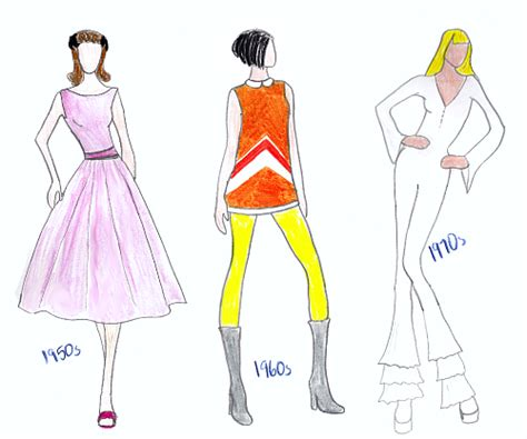 Fashion Sketches 70s by Learning To The Sixties Tanith Rowan