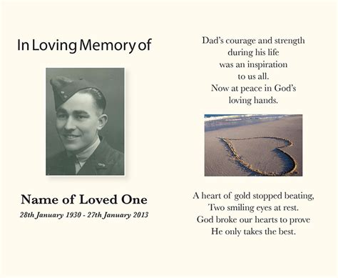 memory card funeral template funeral service books memorial cards perth direction