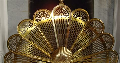 fan shaped fireplace screen era antiques handsome and classic solid brass fan shaped