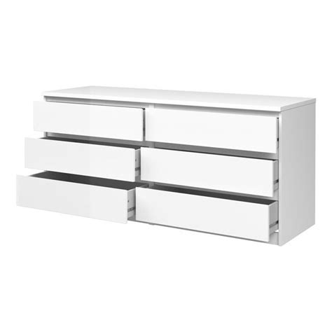 white gloss 8 drawer chest chest of drawers naia 6d white high gloss