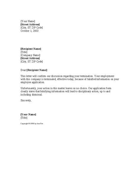 Employment Notice Letter Template Falsifying Information Termination Notice Template Hashdoc