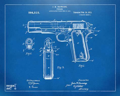 blueprint pdf 1911 colt 45 browning firearm patent artwork blueprint