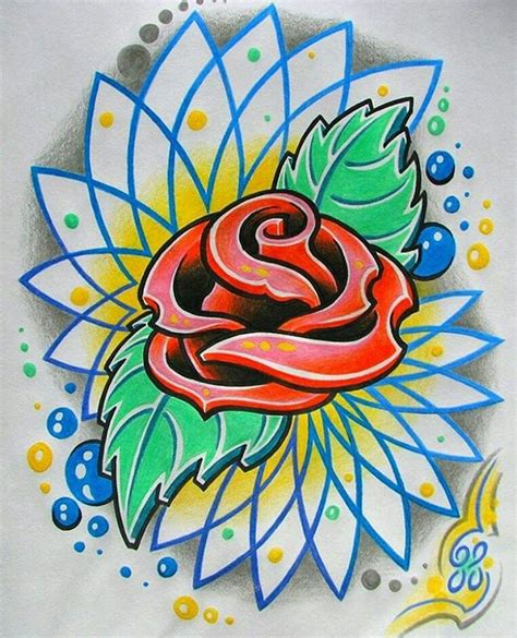 new school tattoo quebec new school tattoo art rose and mandala rose roses