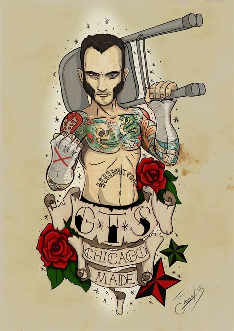 cm punk tattoos gts cm design by section115a