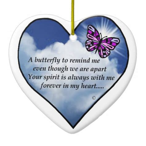 memorial butterfly poem double sided heart ceramic