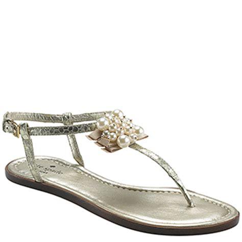 kate spade pearl sandals kate spade hedy platinum embellished flat sandal in gold
