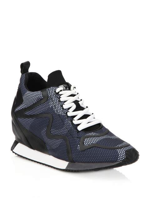 wedges sneakers black ash domino leather trim printed wedge sneakers in black lyst