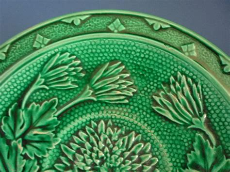 Jetson Green Five Unique And Green Majolica Chrysanthemum Plate C1880