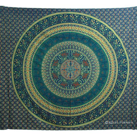 bed tapestry blue indian mandala bird paradise hippie mandala tapestry
