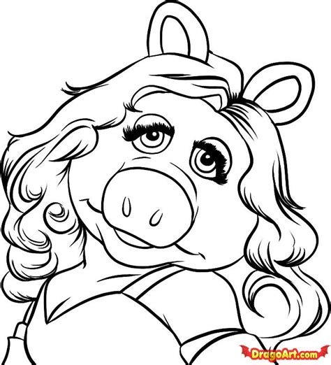 How To Draw Miss Piggy Step By Step Characters Pop Miss Piggy Coloring Pages