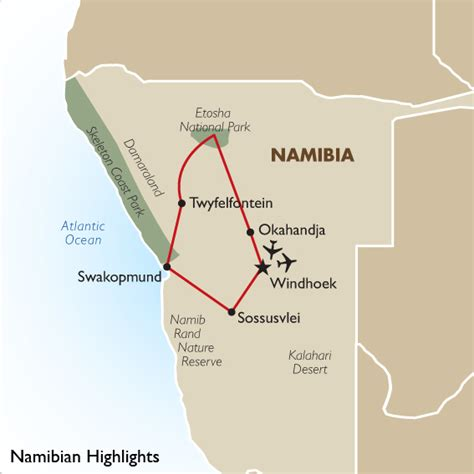 middle east highlighted map namibia vacation packages highlights tour goway travel