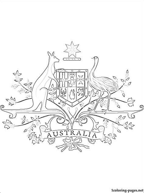 Australian Coat Of Arms Coloring Page Coloring Pages Australian Coat Of Arms Colouring Page