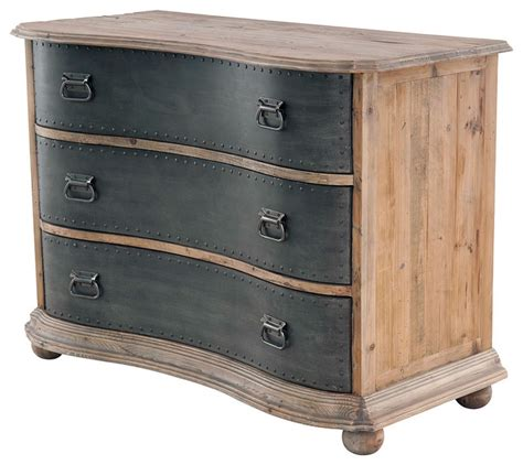 Clothes Drawer Bowfront 3 Drawer Chest With Metal Drawers Traditional