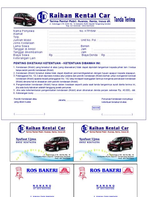 format video untuk mobil kwitansi rental raihan