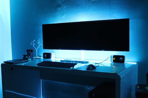 multi monitor desk setup dual monitor led backlighting gaming and all things