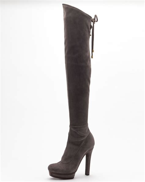 gucci alyona high heel the knee boot in black lyst