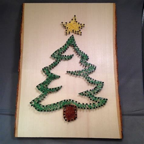 oh christmas string folk art string wall hanging tree handmade craft modern wood slab ebay