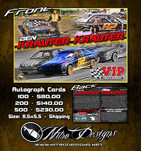 racing autograph card template ben krauter autograph cards nitro designs