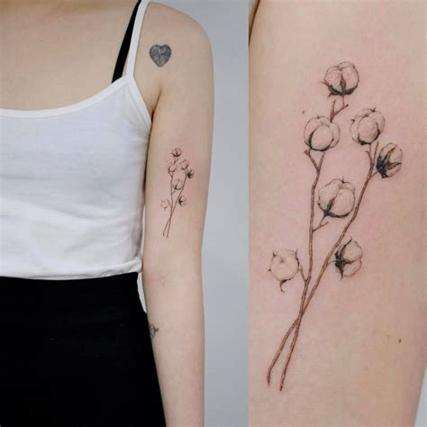cotton plant tattoo on the left bicep