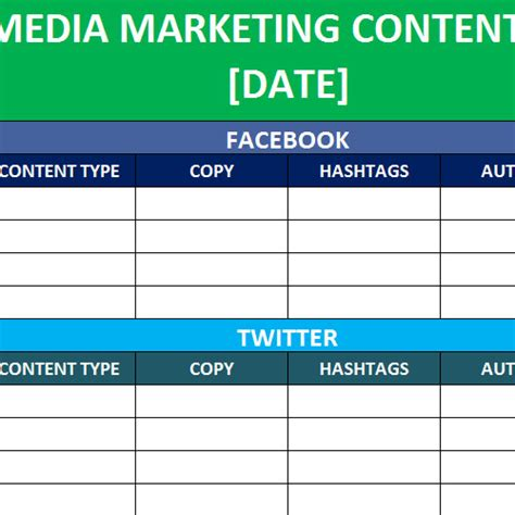social media planner template social media calender template excel 2014 editorial