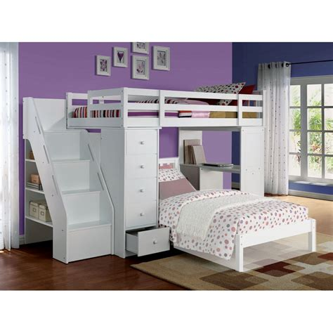 bunk bed with bookcase acme 37145 freya white twin loft bed with bookcase ladder