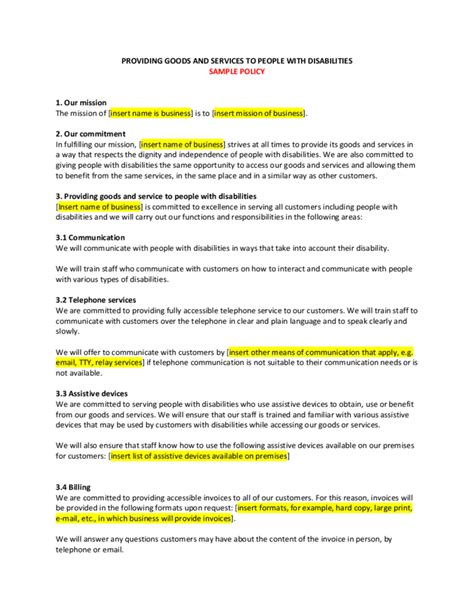 customer care charter template sle customer service policy free