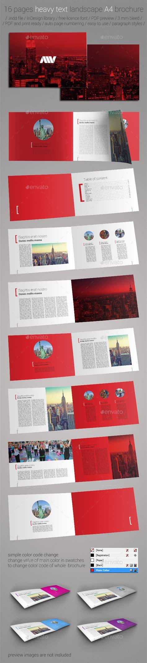 16 Pages A4 Landscape Brochure Template By Miljan Vulovic Graphicriver Pages Brochure Template