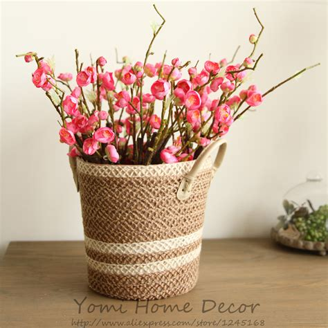 6pcs peach blossom simulation flowers artificial flowers new multi color realistic 6 branches spring artificial