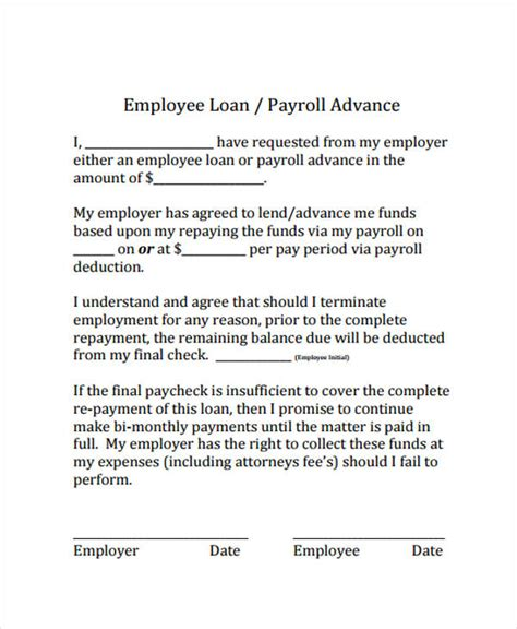 Loan Agreement Form Exle 65 Free Documents In Word Pdf Employee Repayment Agreement Template