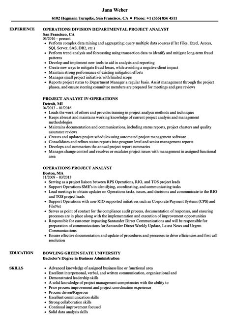 Operations Analyst Resume Exle by Operations Project Analyst Resume Sles Velvet
