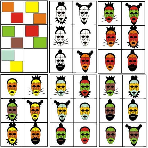 Masker Matrix matrix kleuter afrika masker combineren met 2 kleuren