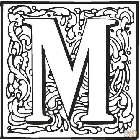 Alphabet M Coloring Pages by Letter M With Ornament Coloring Page Free Printable