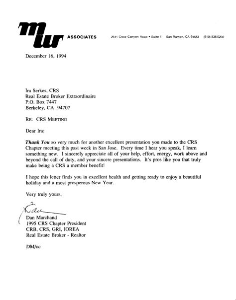thank you letter after presentation sles berkeley home buyer and seller testimonial letters ira