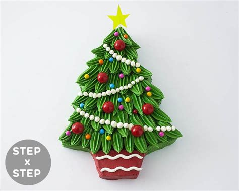 how to shape a christmas tree piped buttercream tree cake tutorial cakegirls