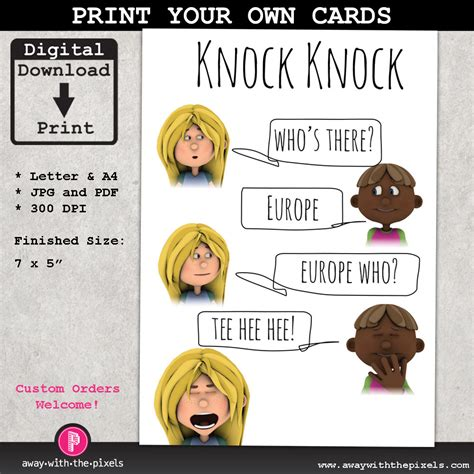 printable christmas joke cards knock knock joke europe greeting card for by awaywiththepixels