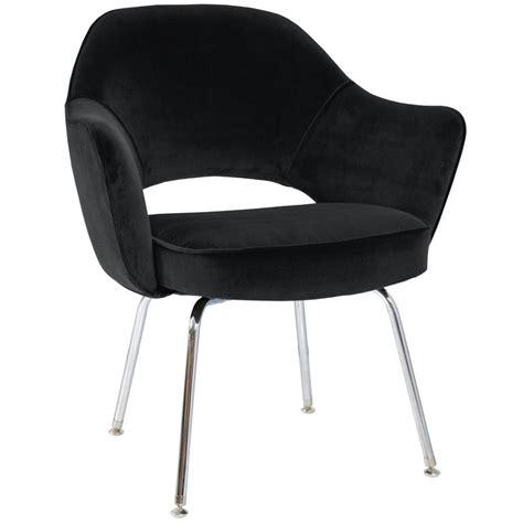 Saarinen Executive Armchair by Saarinen For Knoll Executive Arm Chairs In Black Velvet