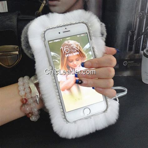 Flower Fur For Iphone 7 Plus Iphone 8 Plus kawaii panda fuzzy soft rabbit fur for iphone 8 plus